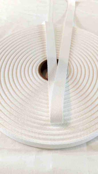 Heavyweight 5/8 inch white twill tape, 72 yard roll