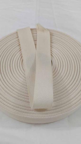 Lightweight 1 inch natural twill tape, 72 yard roll