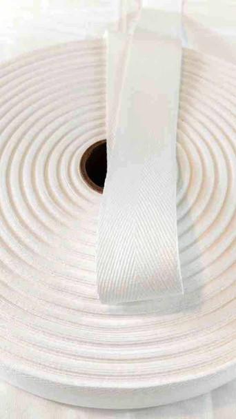 Heavyweight 1.5 inch white twill tape, 72 yard roll