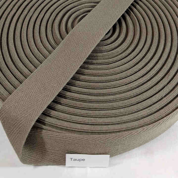 """Cotton Twill Tape 1.25"""" Taupe, 72 yard roll"""