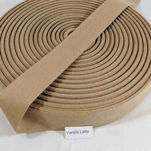 "Cotton Twill Tape 1.25"" Vanilla Latte, 72 yard roll"