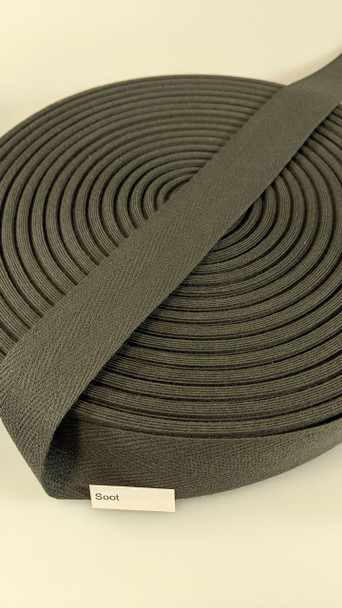 "Cotton Twill Tape 1.25"" Soot, 72 yard roll"