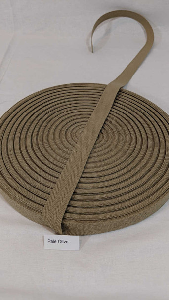 """Cotton Twill Tape 3/4"""" Pale Olive, 72 yard roll"""