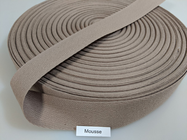 """Cotton Twill Tape 1.25"""" Mousse, 72 yard roll"""
