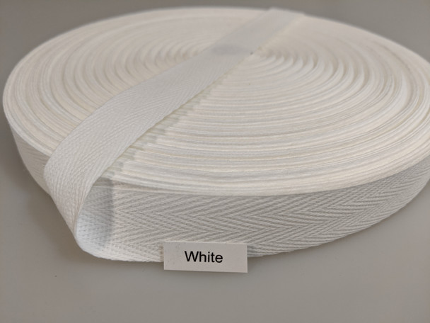 "Cotton Twill Tape 3/4"" White, 72 yard roll"