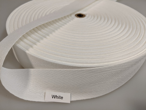 "Cotton Twill Tape 1.25"" White, 72 yard roll"