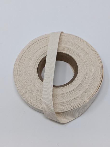 """Heavyweight 1/2"""" natural twill tape, 10 yard roll"""
