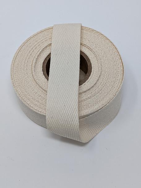 """Heavyweight 1"""" natural twill tape, 10 yard roll"""