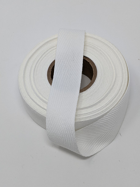 "Heavyweight 1"" white twill tape, 72 yard roll"