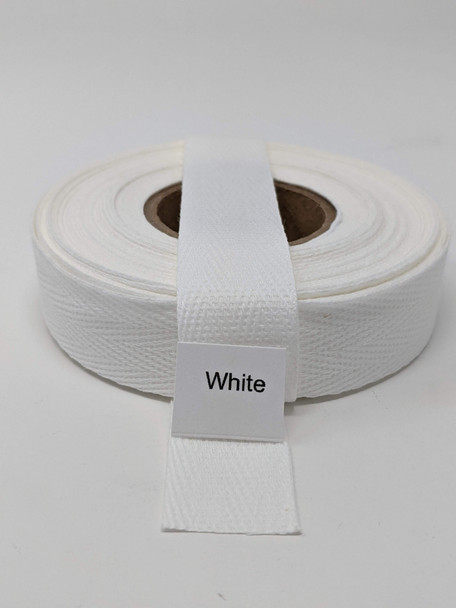 "Cotton Twill Tape 3/4"" White, 10 yard roll"