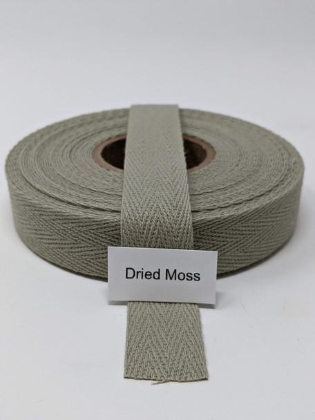 "Cotton Twill Tape 3/4"" Dried Moss, 10 yard roll"