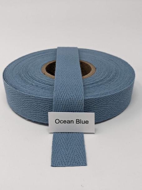 "Cotton Twill Tape 3/4"" Ocean Blue, 10 yard roll"