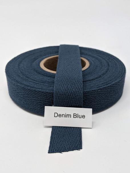 """Cotton Twill Tape 3/4"""" Denim Blue, 10 yard roll"""