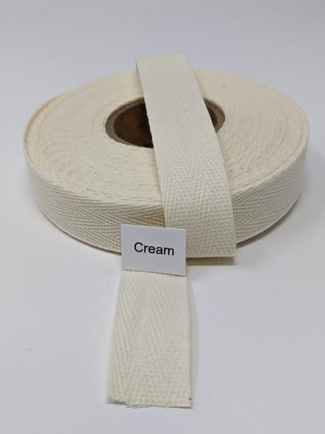 "Cotton Twill Tape 3/4"" Cream, 10 yard roll"