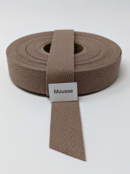 """Cotton Twill Tape 3/4"""" Mousse, 10 yard roll"""
