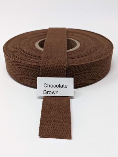 "Cotton Twill Tape 3/4"" Chocolate Brown, 10 yard roll"