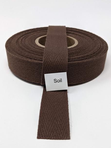 """Cotton Twill Tape 3/4"""" Soil, 10 yard roll"""
