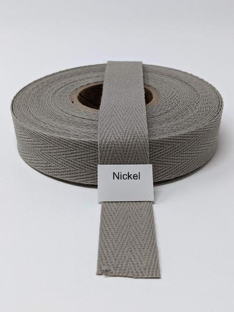"Cotton Twill Tape 3/4"" Nickel, 10 yard roll"