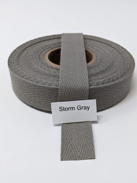 "Cotton Twill Tape 3/4"" Storm Grey, 10 yard roll"