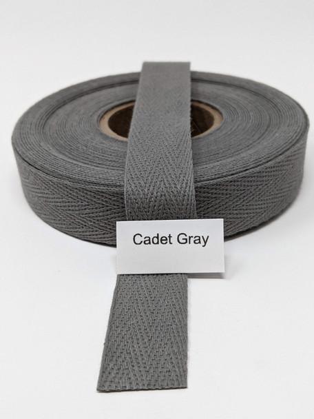 "Cotton Twill Tape 3/4"" Cadet Grey, 10 yard roll"