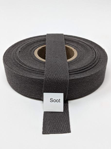 """Cotton Twill Tape 3/4"""" Soot, 10 yard roll"""