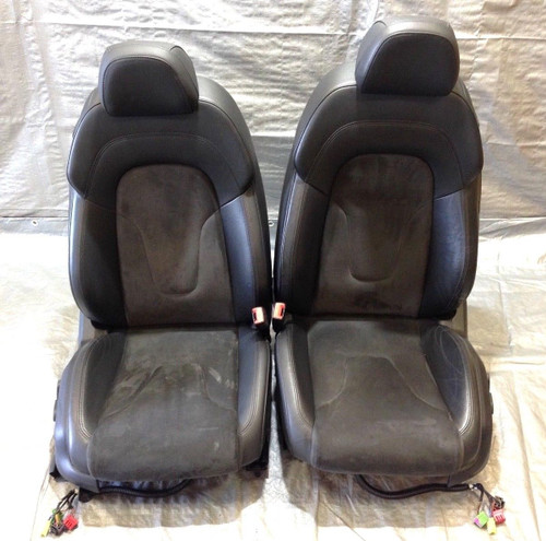 2008-2010 Audi TT Coupe Black Leather w/ Alcantara Front Power Seats Pair T2001