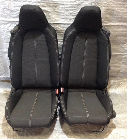 2017-2019 Fiat 124 Spider Classica Black Cloth Seats w/ White Stitching / Pair / FD001