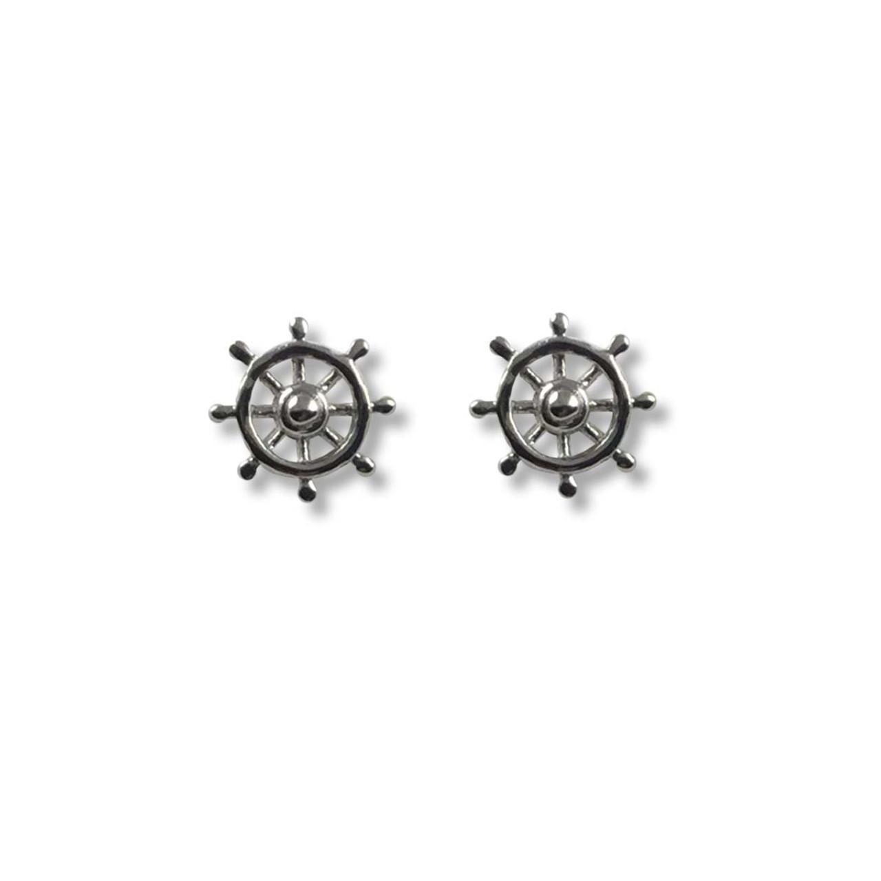 aed4d7c6a Sterling Silver Ship's Wheel Post Earrings - JH Breakell & Co.