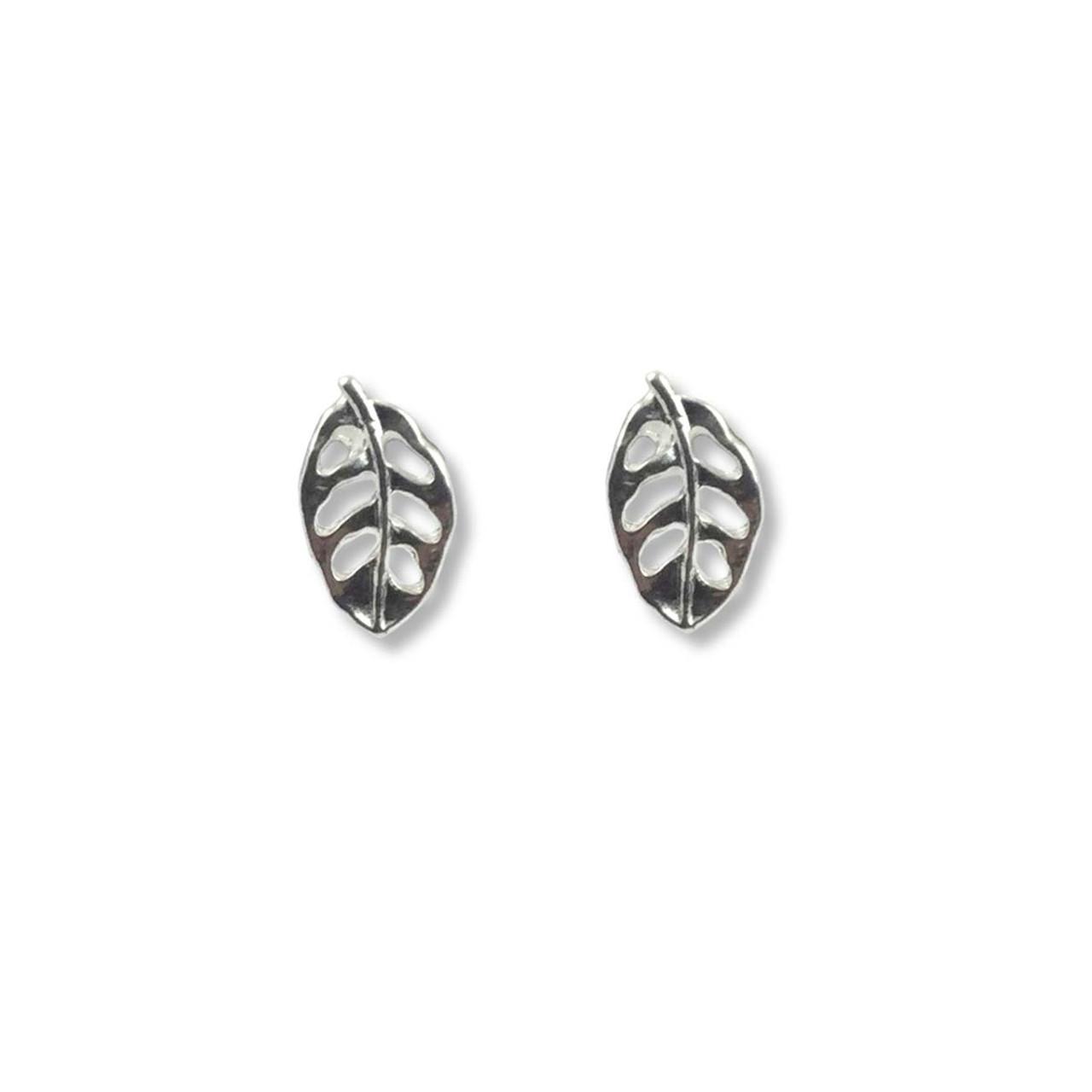 babd74b71 Sterling Silver Leaf Post Earrings - JH Breakell & Co.