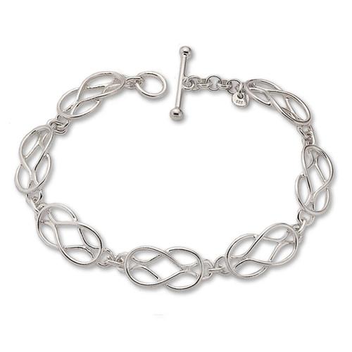Graceful Sterling Silver Love Knot Bracelet