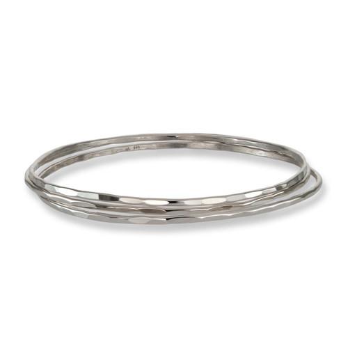 Light Sterling Silver Affection Bangles - Set of 3