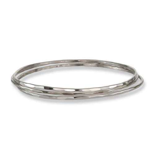 Light Sterling Silver Affection Bangles - Set of 3
