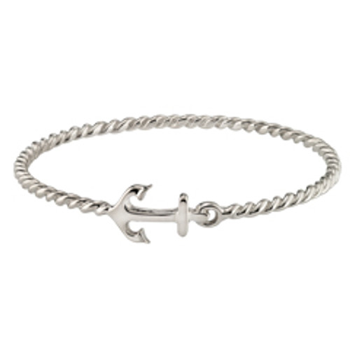14Kt Gold Sterling Silver Anchor Bangle