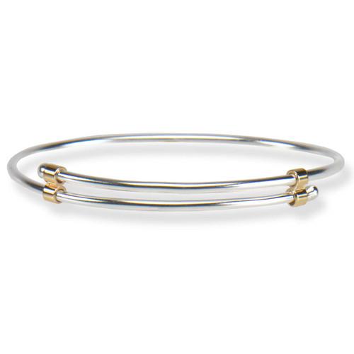 Handmade simple Sterling & 14kt Newport Bracelet