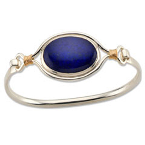 Ancient Egyptians made Sterling & 14kt Lapis Lazuli Clip Bracelet