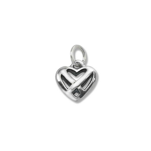 Sterling Silver Celtic Heart Charm with Weaving Bands