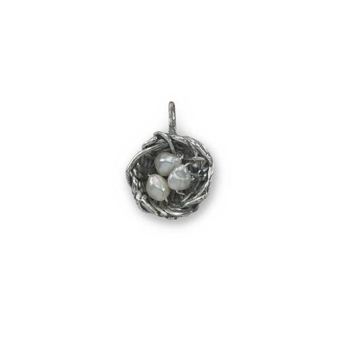 "Sterling Silver Bird's Nest Charm 5/8"" Long"