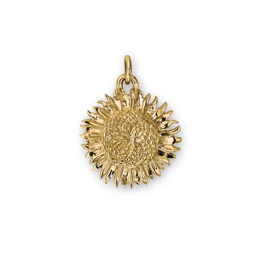 Handcrafted Petals 14kt Gold Sunflower Charm