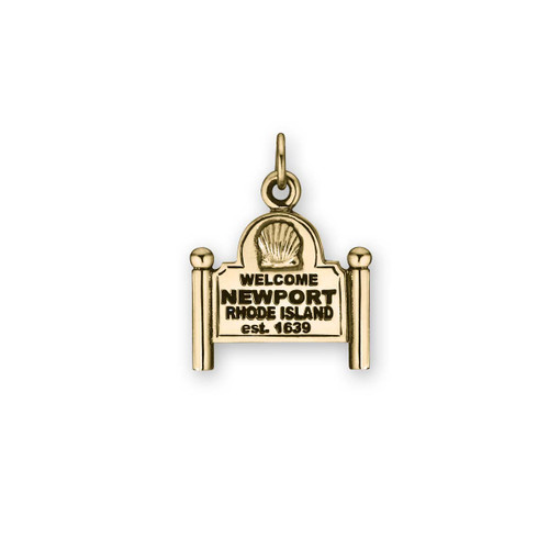 14kt Gold Scallop Shell Newport Sign Charm