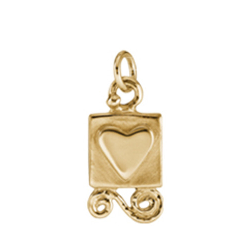 14kt Gold Gift from the Heart Charm with carved heart & ribbon