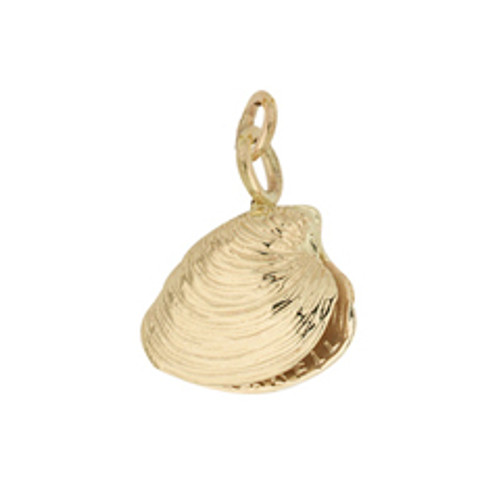 14kt Gold Quahog Double Sided Shell Charm