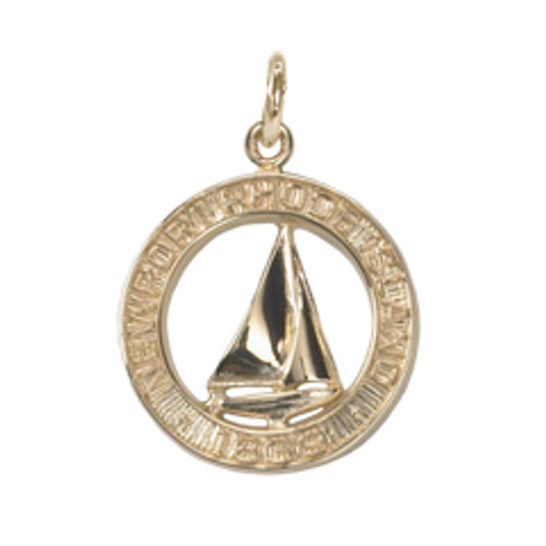 14kt Gold Newport Sailboat Charm symbol of the city by the sea