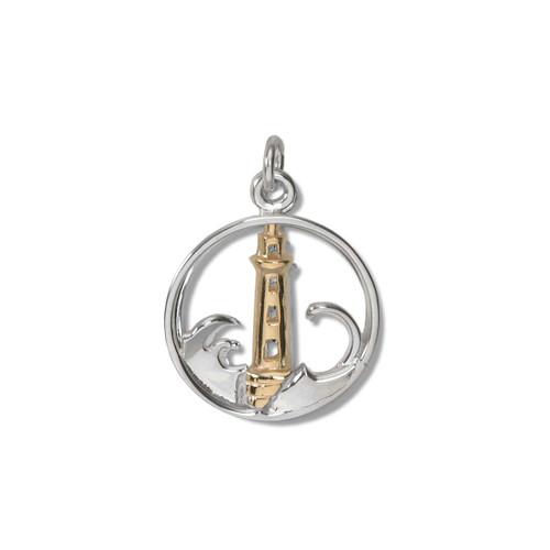 Sterling & 14kt Lighthouse Charm symbol of safety