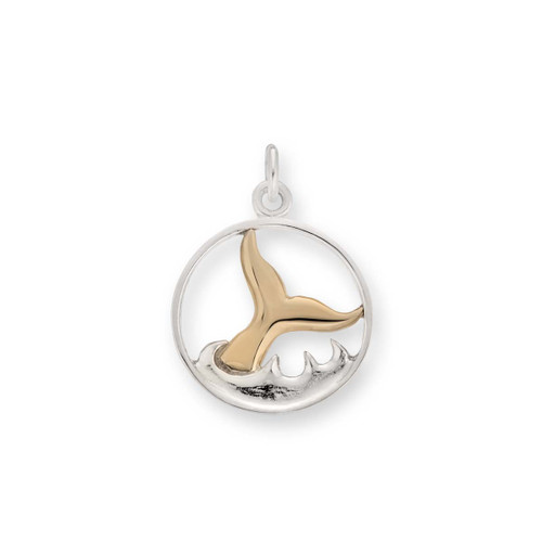Sterling & 14kt Whale Watch Charm Symbolize Strength
