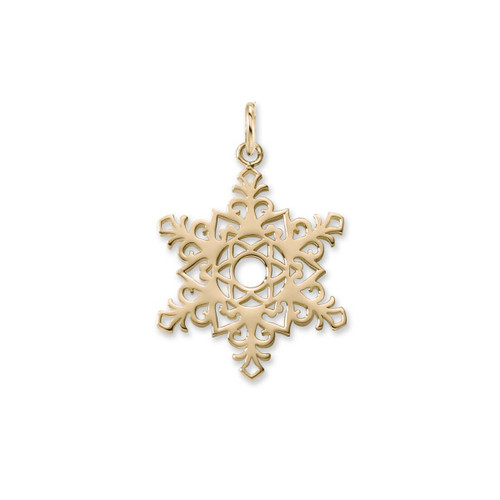 14kt Gold 2017 Unique Snowflake Charm