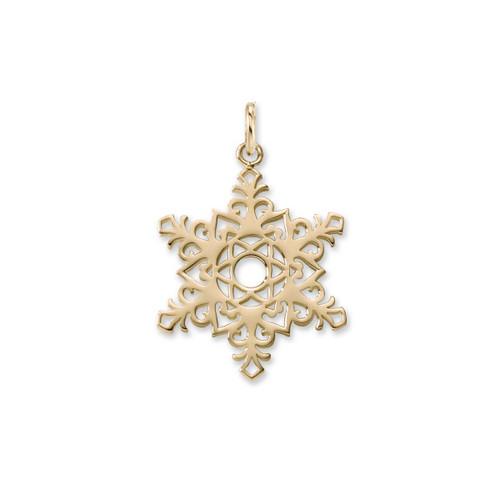 14kt Gold 2017 Unique Snowflake Charm