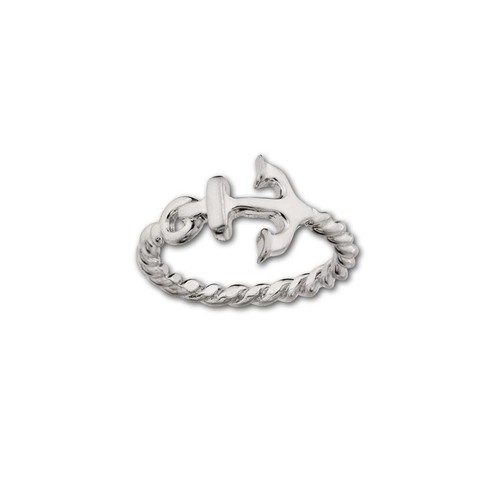 Sterling Silver Anchor Ring with a Rope Band