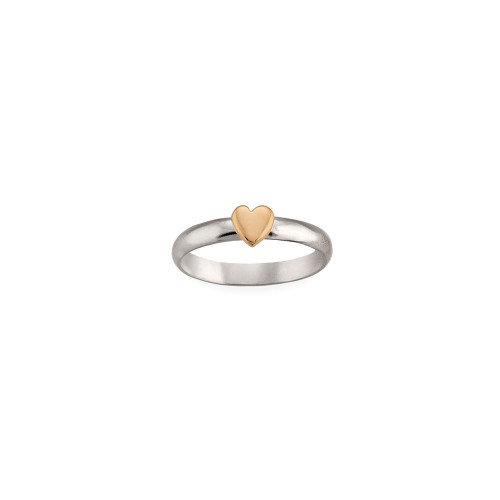 Sterling Silver & 14kt Gold Talisman Heart Ring