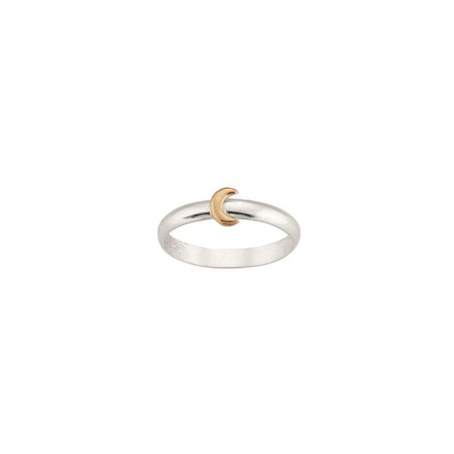 Sterling Silver & 14kt Gold Talisman Moon Ring