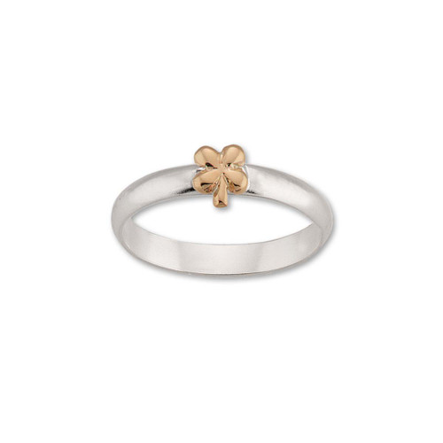 Sterling & 14kt Gold Talisman Clover Ring symbol Flower